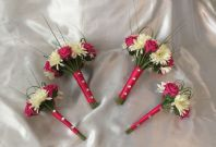 WEDDING FLOWERS ARTIFICIAL HOT PINK ROSE IVORY GERBERA BRIDESMAID BOUQUETS POSIE